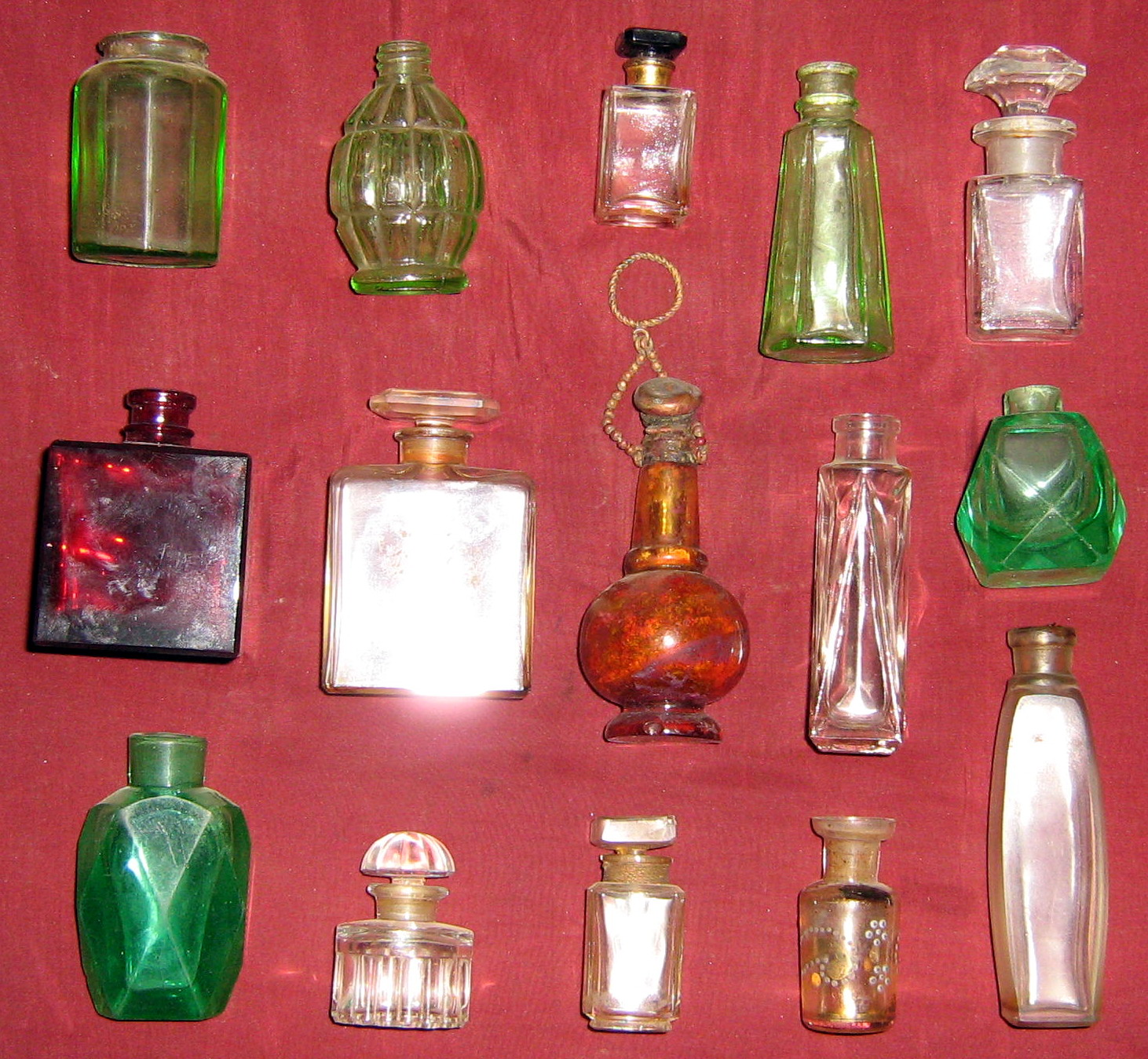 Various Types of Perfume Bottles in Glass